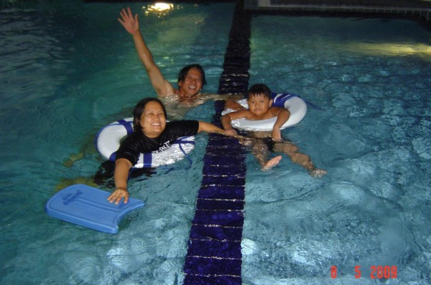 Night swimming at Al-Khair Compound