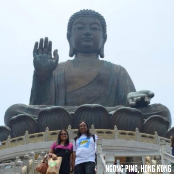 The majestic Tian Tan Buddha, elevated 240 steps on Lantau Island, HK.
