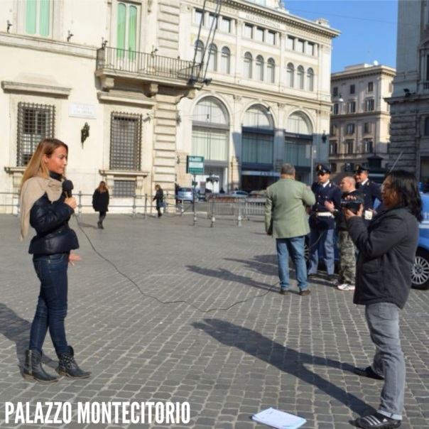 The scoop is about the Italian Prime Minister Silvio Berlusconi announcing his resignation at the Palazzo Montecitorio