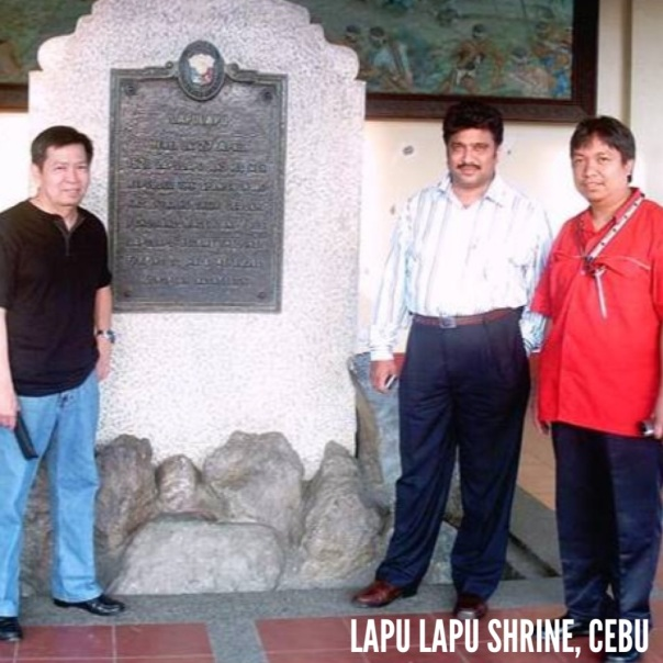 A souvenir shot at Lapu Lapu Shrine in Cebu City during one of our out-of-town recruitment campaign.  With me is my boss and client.