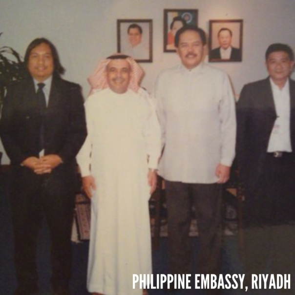 With Philippine Ambassador, a Saudi General and a Filipino businessman, at Philippine Embassy in Riyadh.