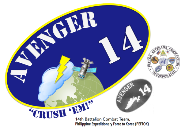 "My brushed up logo of ""Avenger"" to which I include the motto ""Crush 'Em!"".  It appears that the logo was designed to be slanted."