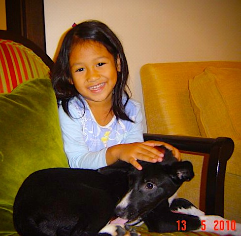 "Sophie with ""Loren"", two years ago, our first attempt to have a pet dog."
