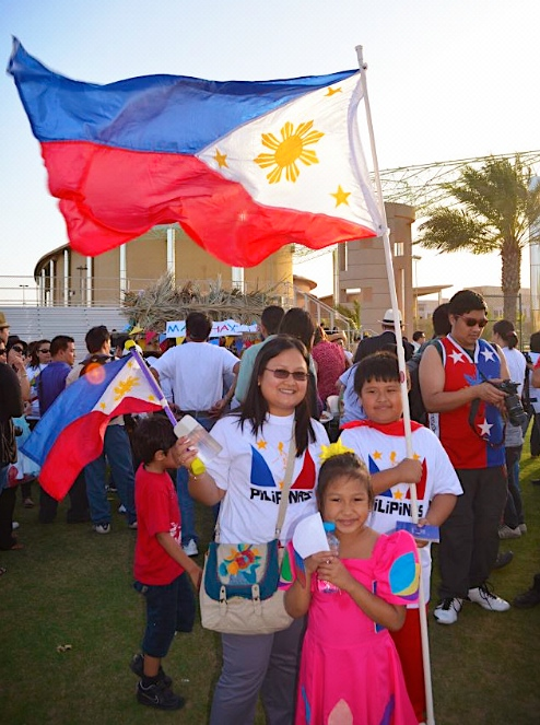 The Philippine Flag flying amidst the Saudi Arabia afternoon desert breeze.