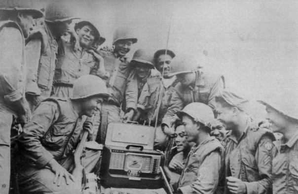 """Men of the 14th cheer the Armistice"" caption and image from http://peftok.blogspot.com/"